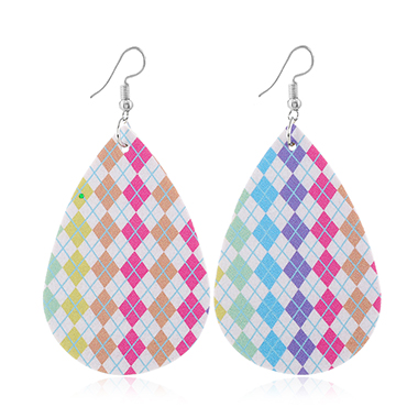 Printed Faux Leather Multi Color Earrings