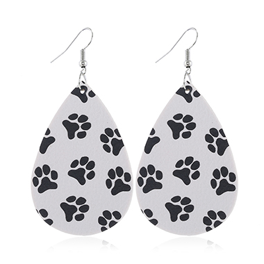 White Faux Leather Dog Paw Print Earring Set