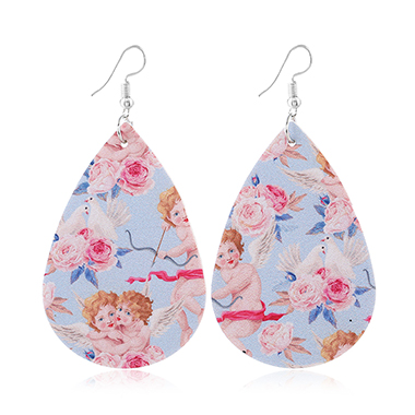 Flower Print Multi Color Faux Leather Earring Set