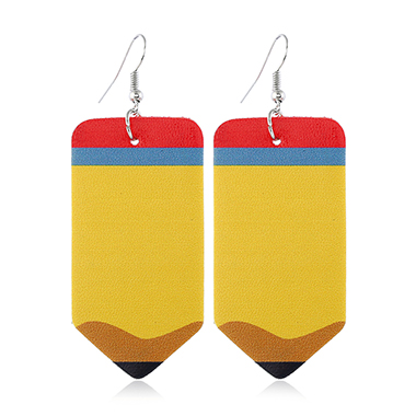 Faux Leather Pencil Shape Earrings for Lady