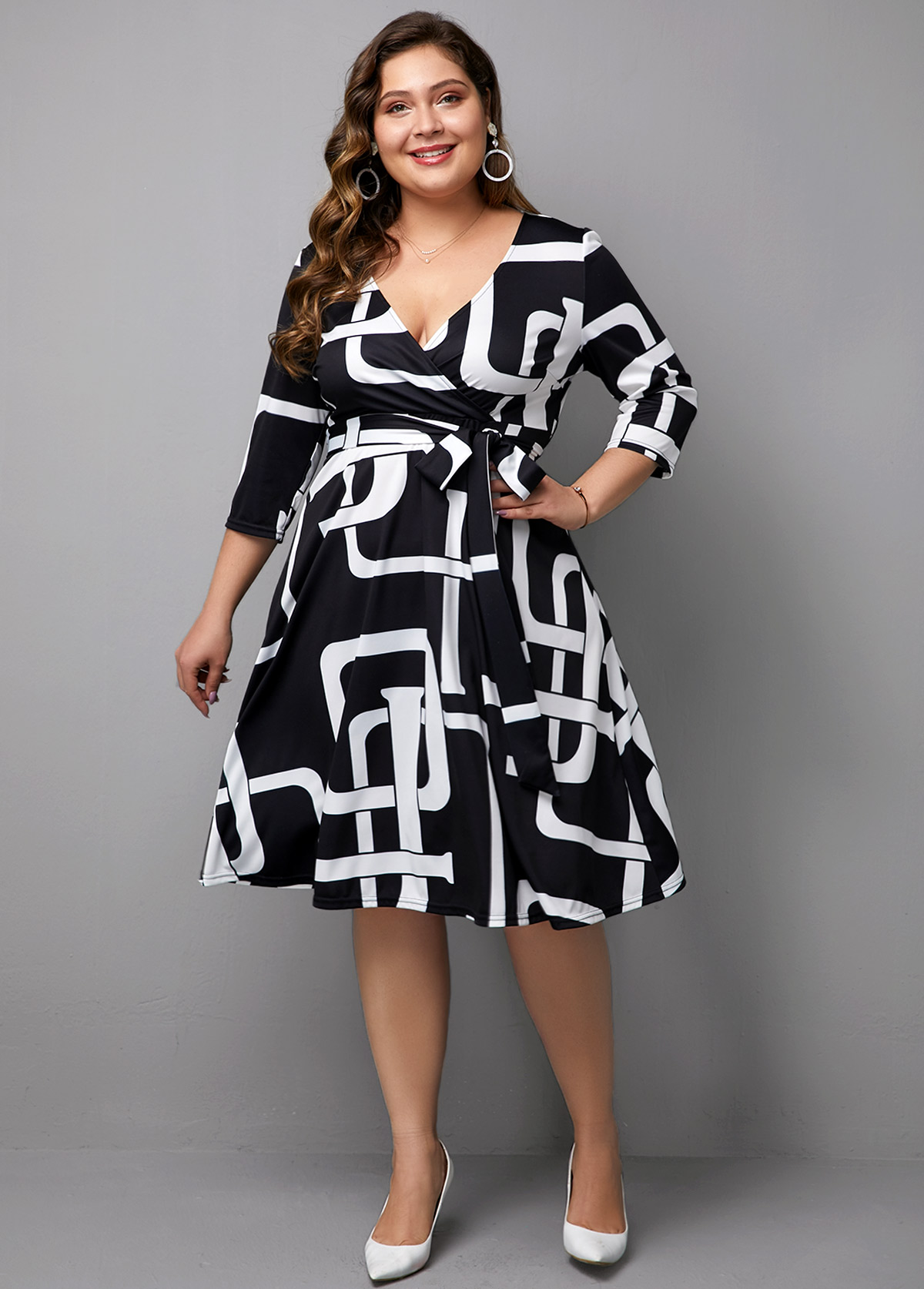 Three Quarter Sleeve Plus size Printed V Neck Dress
