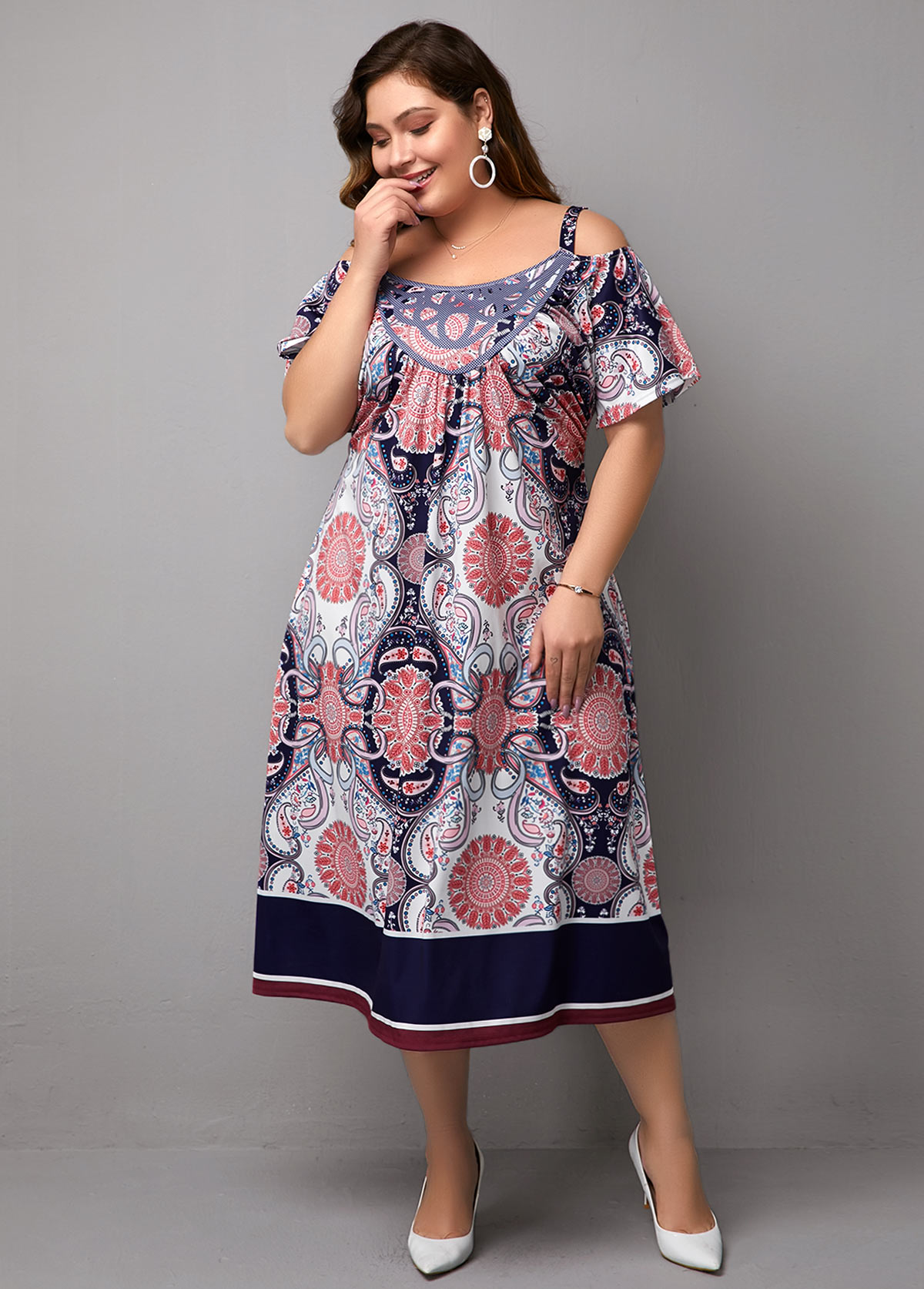 Printed Cold Shoulder Plus Size Dress