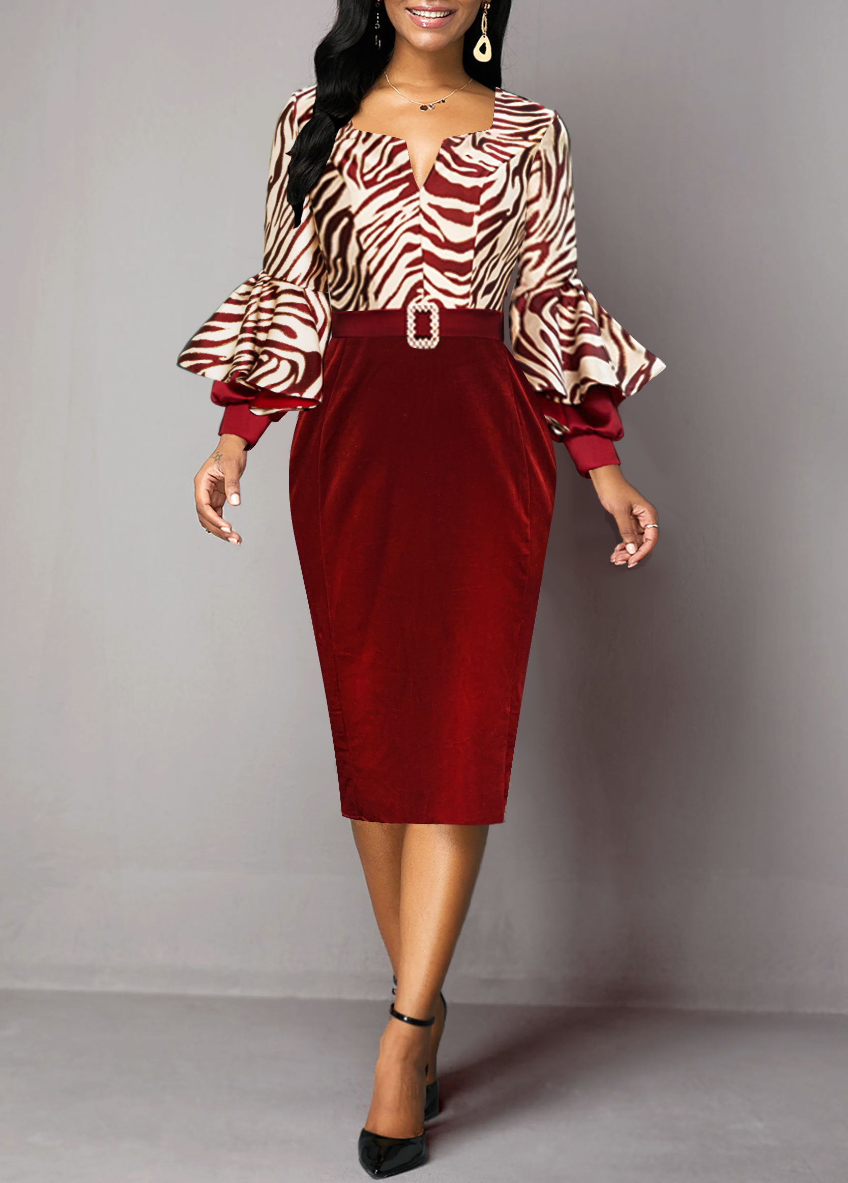 Buckle Belted Zebra Print Long Sleeve Sheath Dress