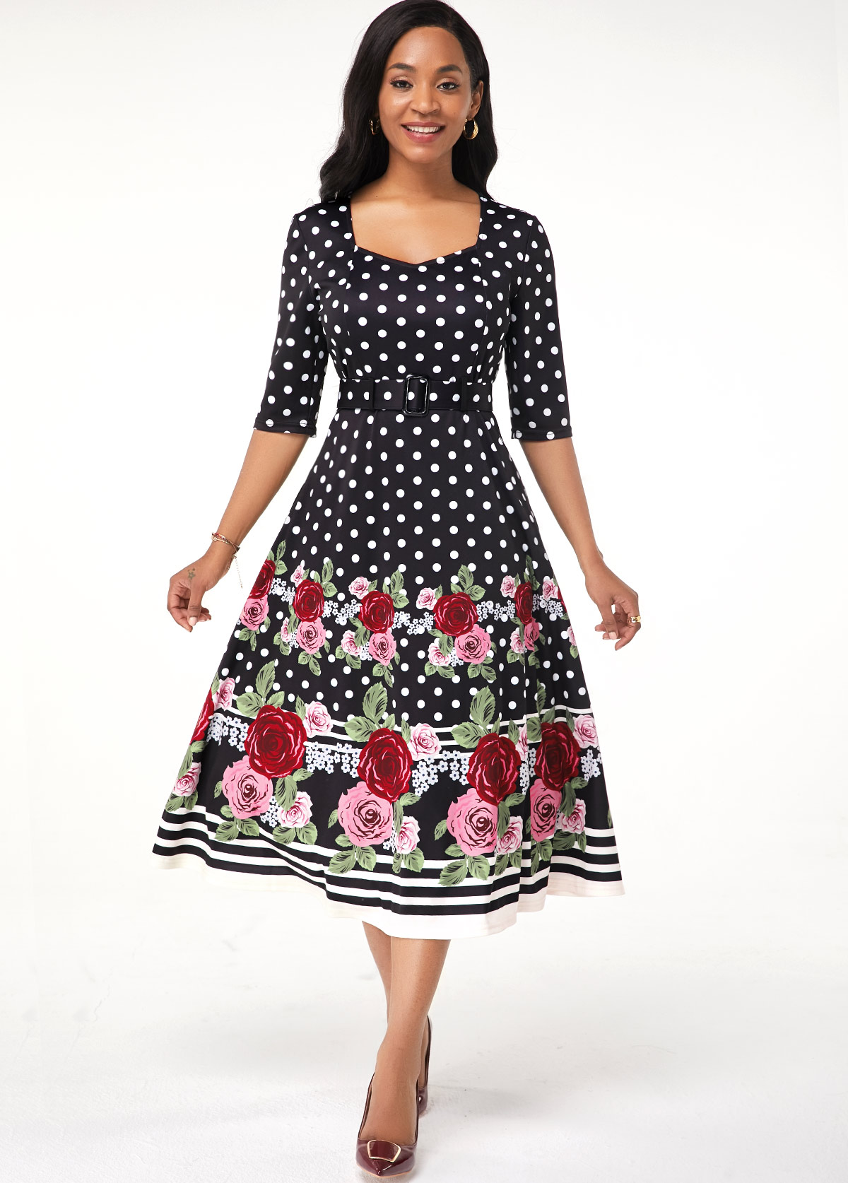 Half Sleeve Flower Print Belted Dress