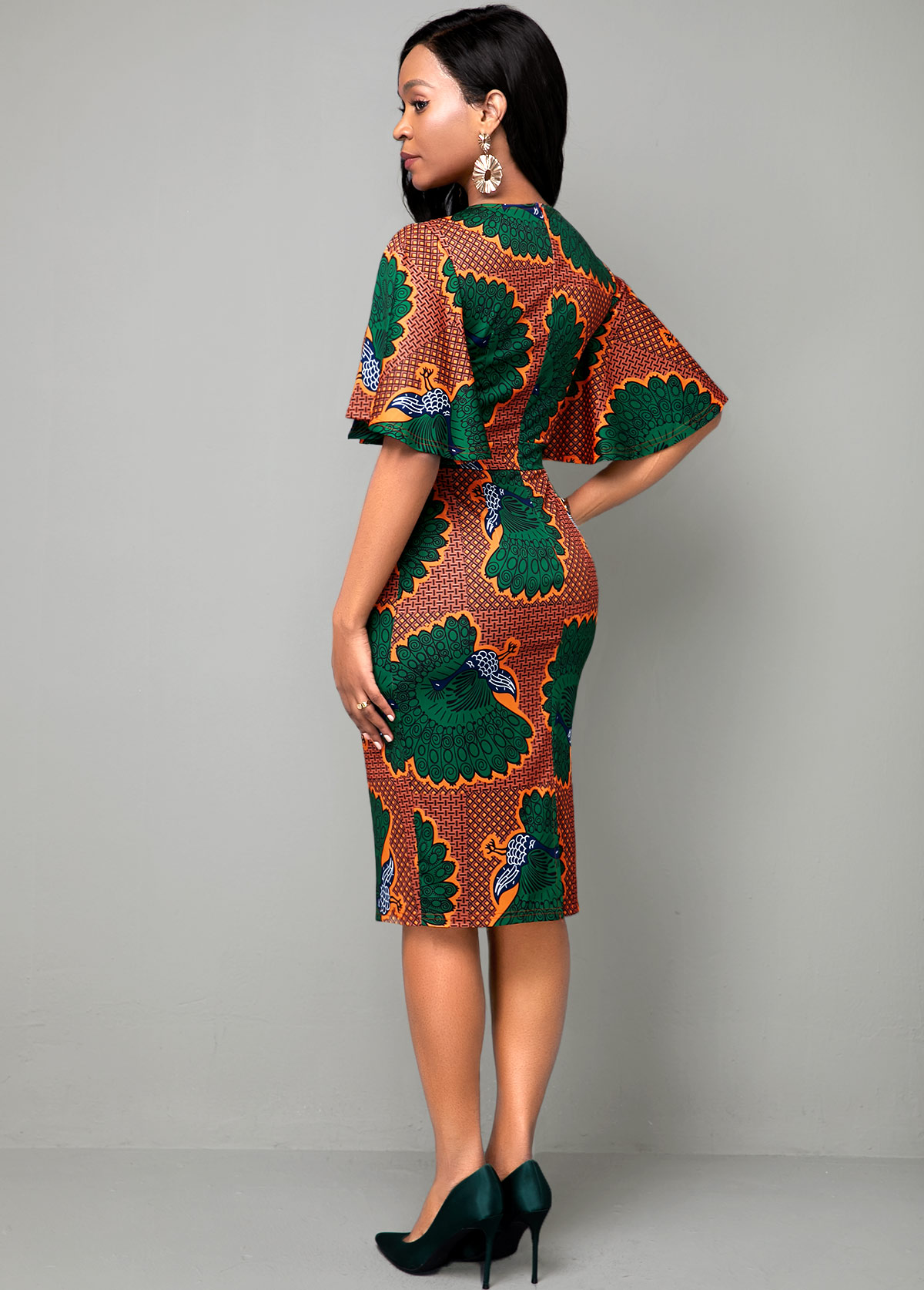 Multi Color Round Neck Ethnic Print Dress