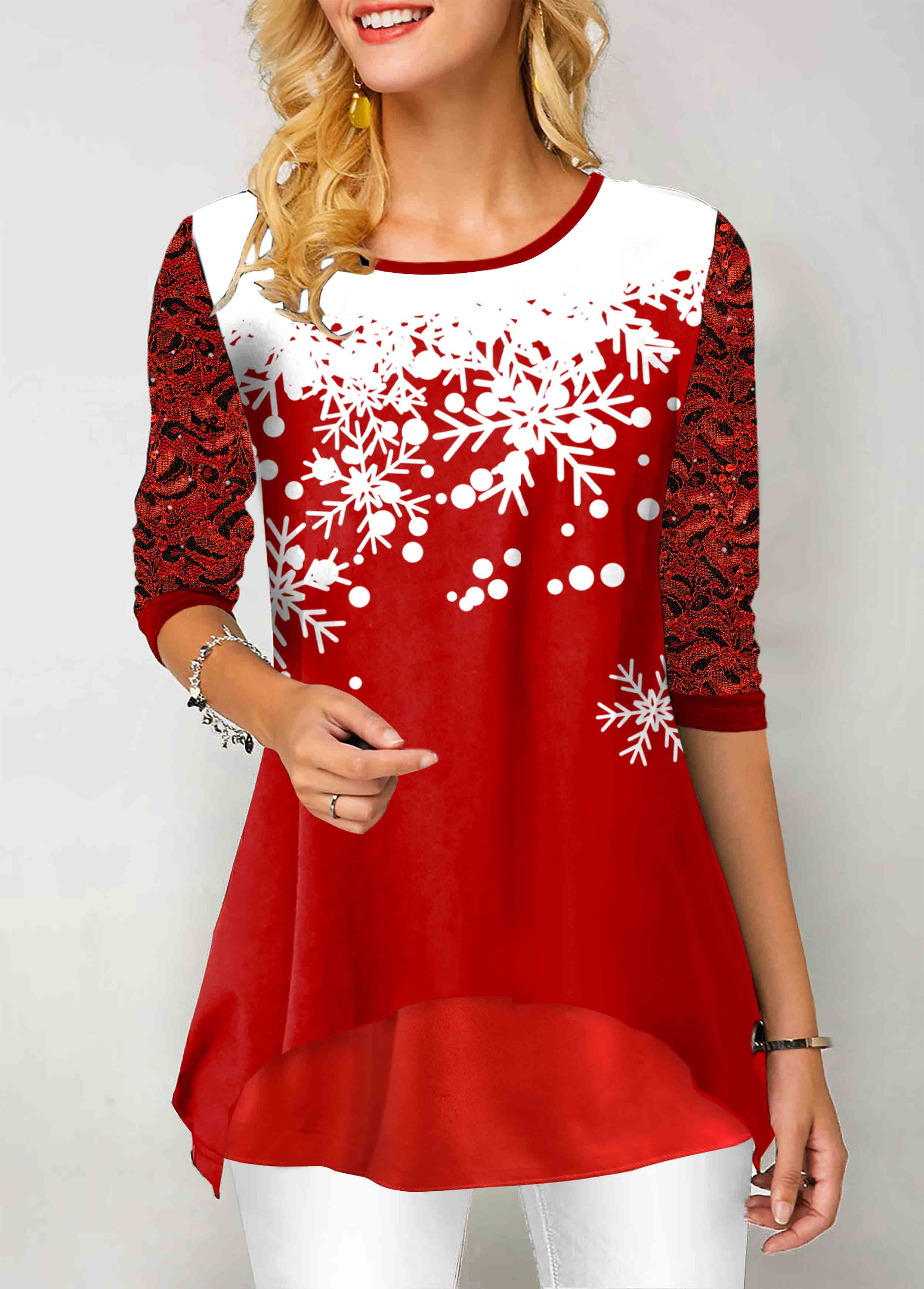 Snowflake Print Lace Panel Round Neck T Shirt