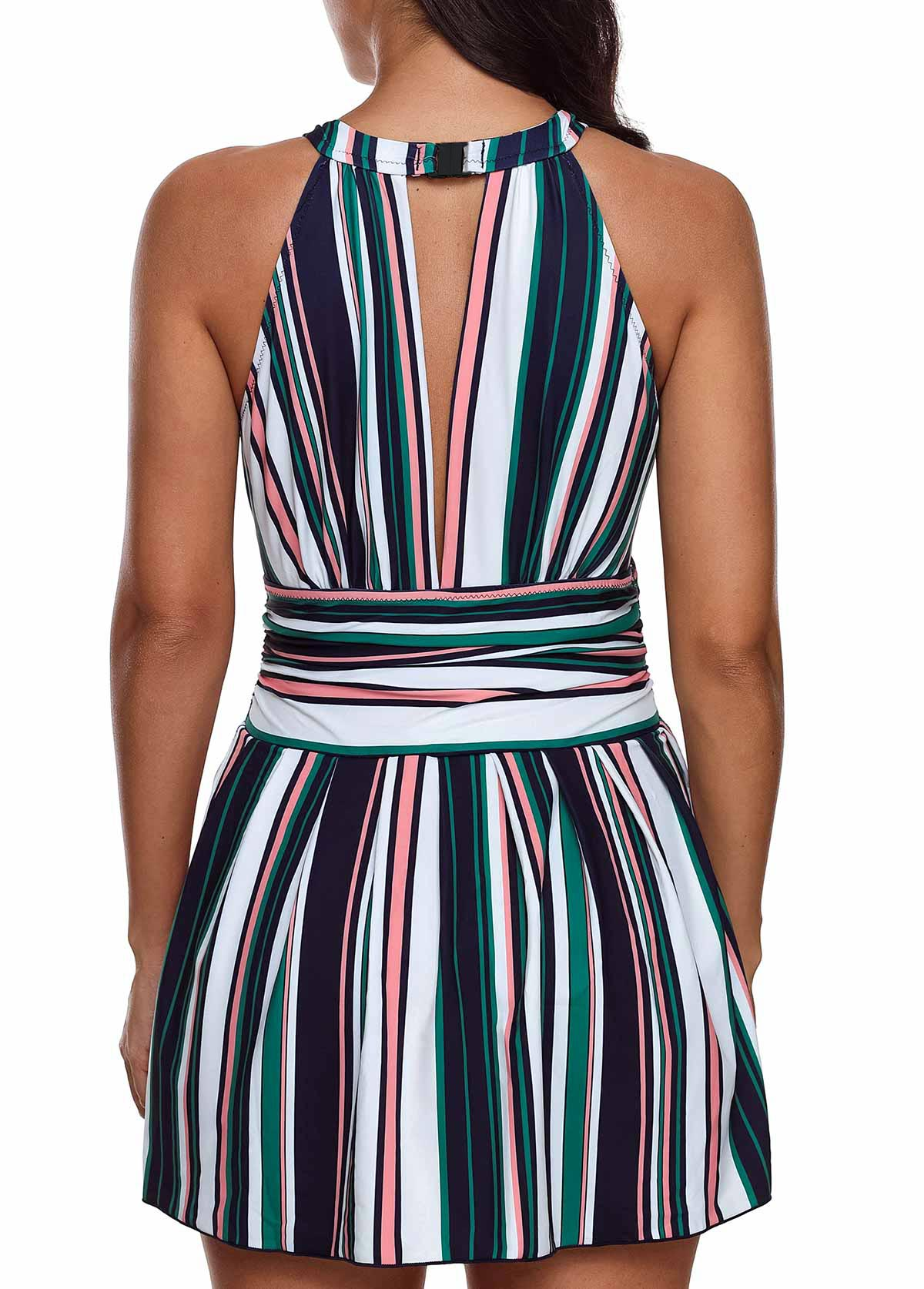 Multicolor Striped Cutout Back Swimdress and Shorts