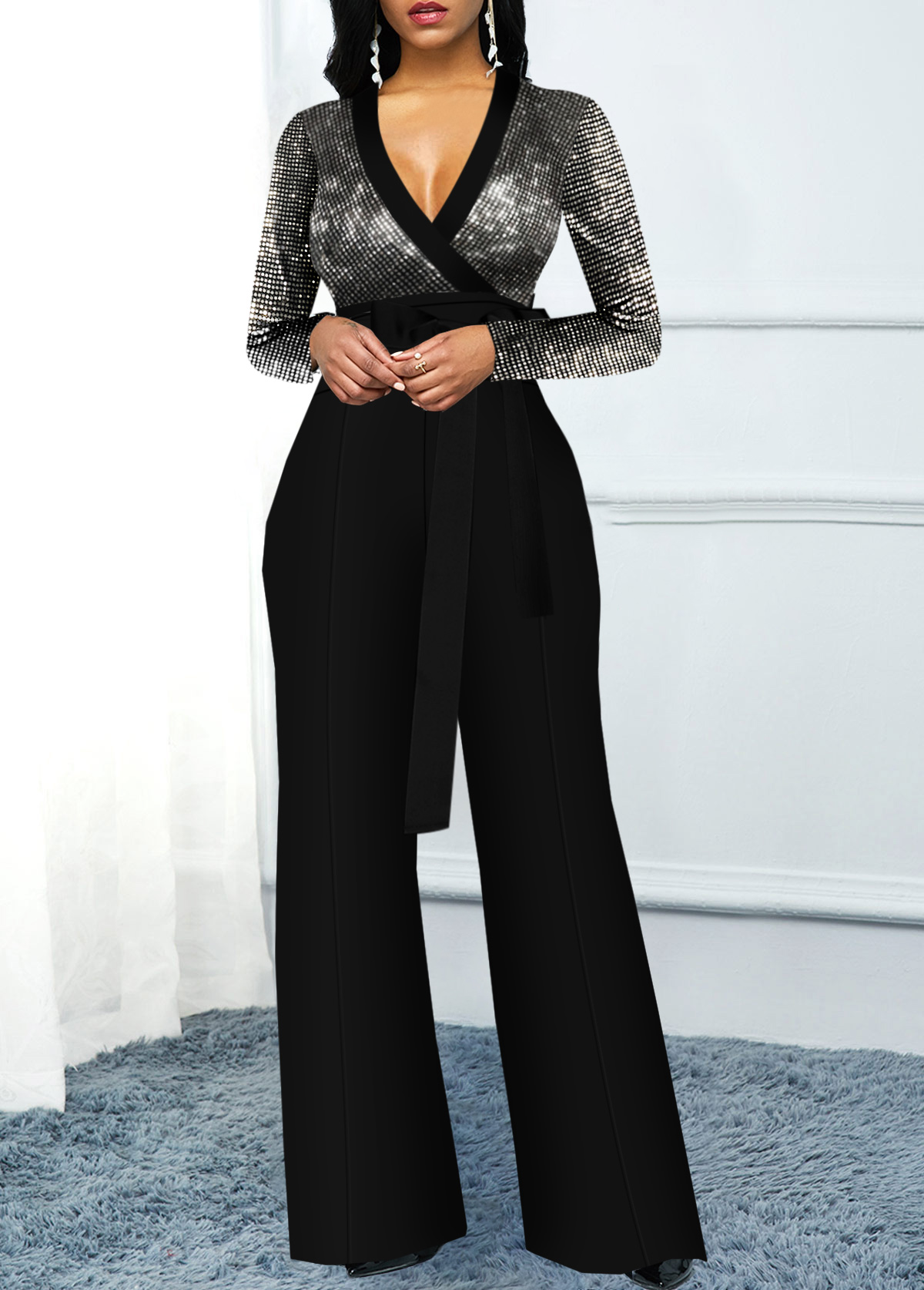 Long Sleeve Sequin Panel Plunging Neck Jumpsuit