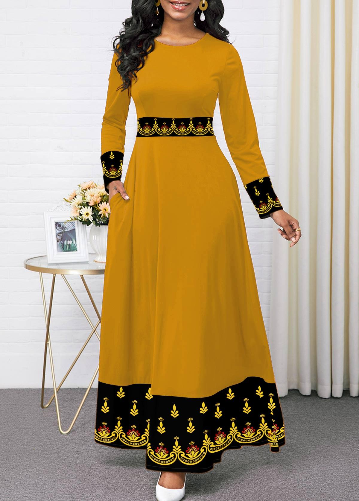 Printed Round Neck Long Sleeve Dress