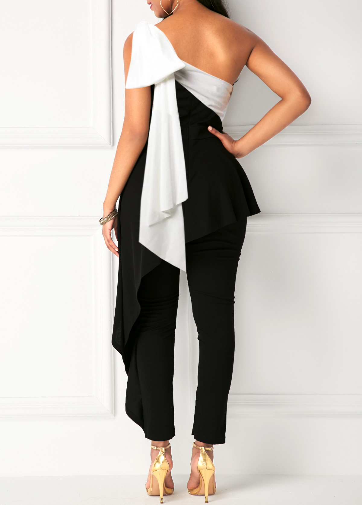 Contrast Panel One Shoulder Ruffle Overlay Jumpsuit
