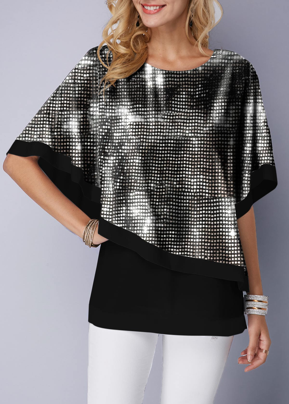 Black Round Neck Tank Top and Sequin Cape T Shirt