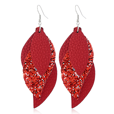 Coral Red Sequin Detail Leaf Shape Earrings
