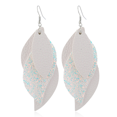 Sequin Detail Layered Faux Leather Earrings for Women