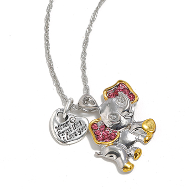Silver Metal Rhinestone Baby Elephant Shape Necklace