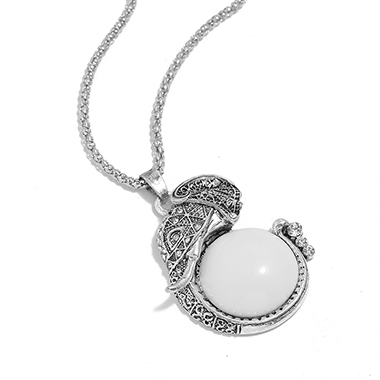 White Jade Fish Design Ancient Silver Necklace