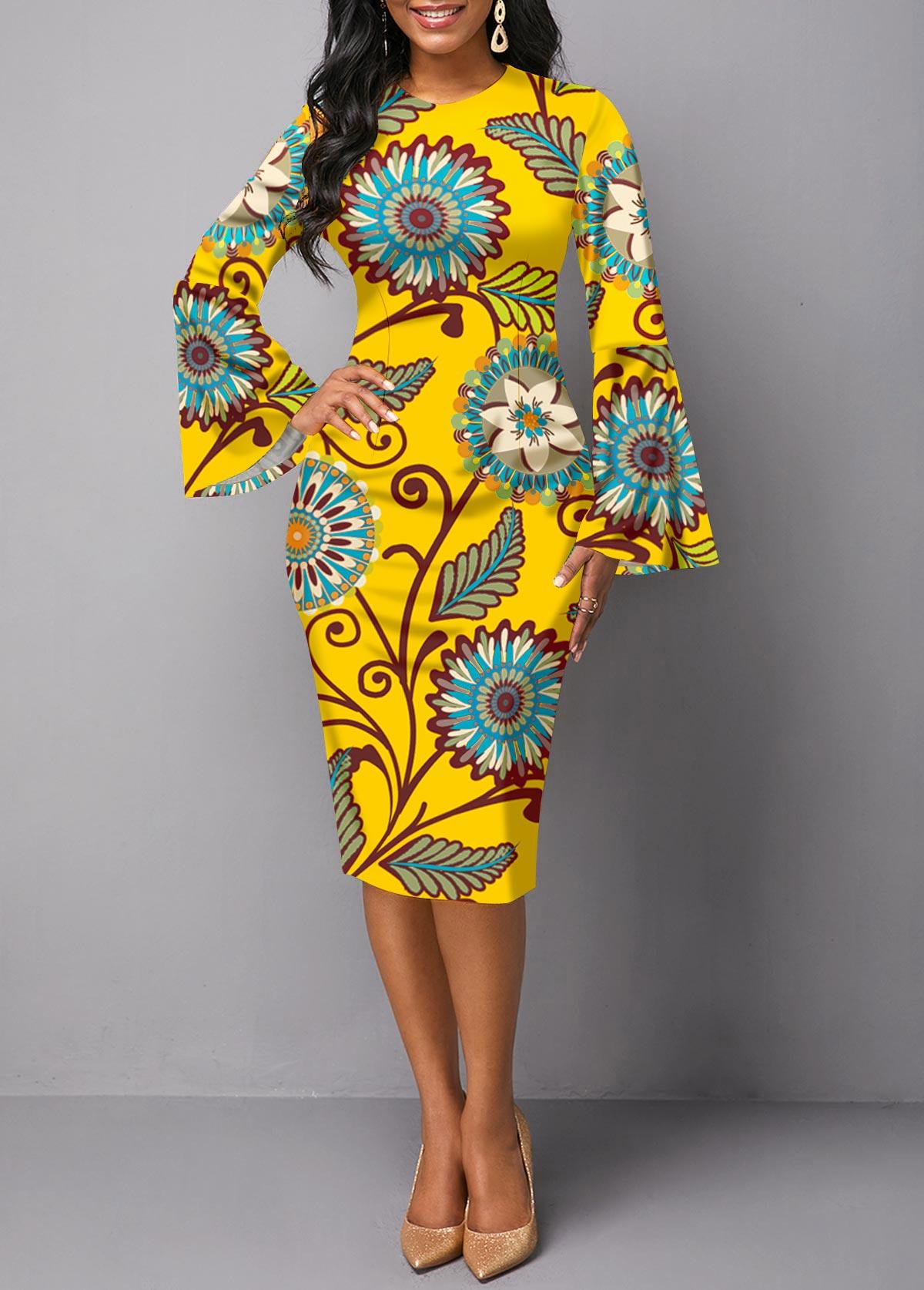 Flare Sleeve Printed Round Neck Sheath Dress