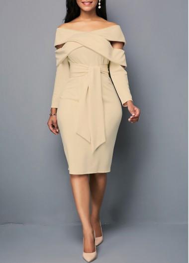 Zipper Back Off the Shoulder Belted Sheath Dress
