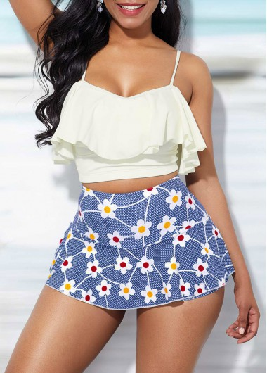 Women White Two Piece High Waisted Bathing Suit Spaghetti Strap Ruffle Overlay Top And Sky Blue Floral Printed Pantskirt Swimsuit  By Rosewe - L