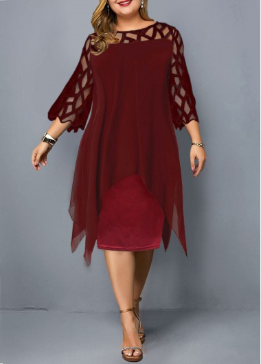 Women'S Wine Red Plus Size Three Quarter Sleeve Flowy Dress Burgundy Solid Color Illusion Elegant Sheath Party Dress By Rosewe - 0X