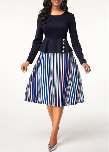 Button Detail Round Neck Stripe Print Dress