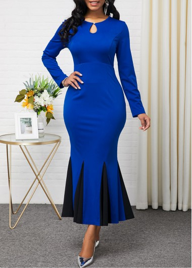 Women'S Blue Long Sleeve Mermaid Hem Maxi Evening Party Dress Color Block Contrast Panel Keyhole Neckline Sheath Elegant Dress By Rosewe - 16