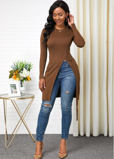 Women'S Brown Side Slit Long Sleeve Longline Sweater Solid Color Round Neck Pullover Casual Jumper By Rosewe - XL