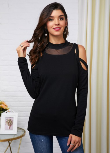 Black Mesh Long Sleeve Cold Shoulder T Shirt