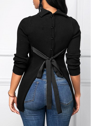 Women'S Black Tie Back Button Detail Long Sleeve Sweater Solid Color Pullover Casual Jumper By Rosewe - L