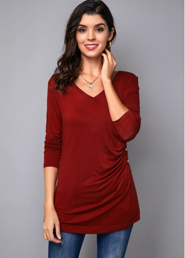Women'S Wine Red V Neck Casual T Shirt Burgundy Solid Color Long Sleeve Button Detail Top By Rosewe - 10