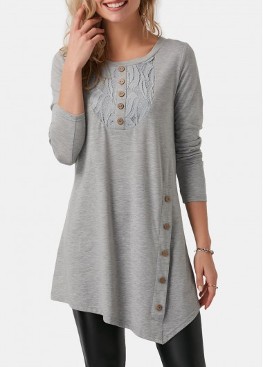Women'S Light Grey Asymmetric Hem Long Sleeve Longline T Shirt Solid Color Button Detail Round Neck Tunic Casual Top By Rosewe - L