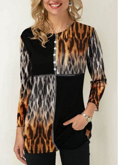 Women'S Black Leopard Print Contrast Panel Button Detail T Shirt Three Quarter Sleeve Tunic Casual Top By Rosewe - M