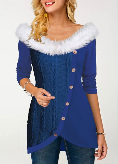 Women'S Royal Blue Inclined Button Fur Collar Tulip Hem T Shirt Long Sleeve Tunic Casual Top By Rosewe - L