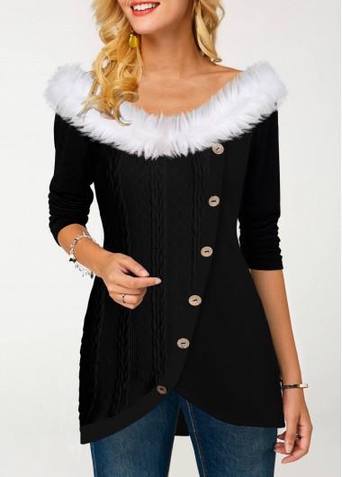 Women'S Black Fur Collar Tulip Hem Inclined Button T Shirt Off The Shoulder Asymmetric Hem Long Sleeve Tunic Casual Top By Rosewe - L