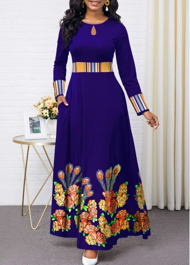 Women'S Royal Blue Floral Print Long Sleeve Maxi Cocktail Party Dress High Waisted Elegant A Line Dress By Rosewe - M