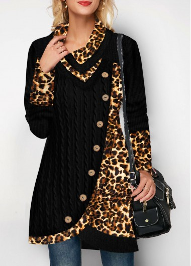 Women'S Black Leopard Print Asymmetric Hem Button Detail Sweatshirt Pullover Longline Tunic Csual Top By Rosewe - M