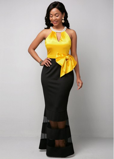Rosewe Women Black And Yellow Mermaid Hem Evening Party Dress Color Block Halter Neck Sleeveless Sheath Maxi Elegant Cocktail Party Dress - 10