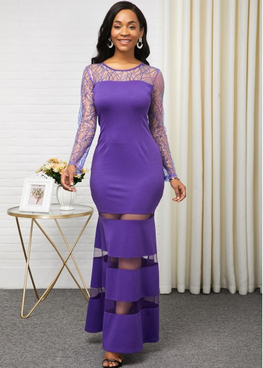 Cocktail Party Dress Purple Long Sleeve Mesh Pancel Dress - 10
