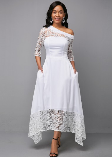 Women'S White Three Quarter Sleeve Lace Panel Skew Neck Cocktail Party Dress Solid Color Asymmetric Hem Simple Wedding Dress By Rosewe - 10