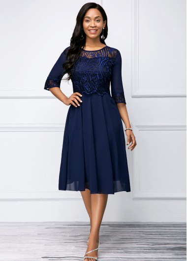 Wedding Guest Dress Navy Blue Lace Panel Round Neck Dress - 10
