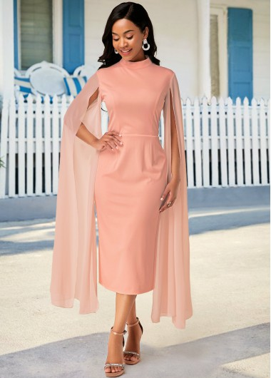 Women'S Pink Stand Collar Cocktail Party Dress Solid Color Zipper Closure Cape Shoulder Long Sleeve Sheath Midi Dress By Rosewe - 10