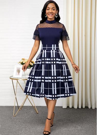 Women'S Navy Blue Illusion Mock Neck Vintage A Line Cute Dress Short Sleeve Plaid Print Lace Panel Midi Cocktail Party Dress By Rosewe - 10