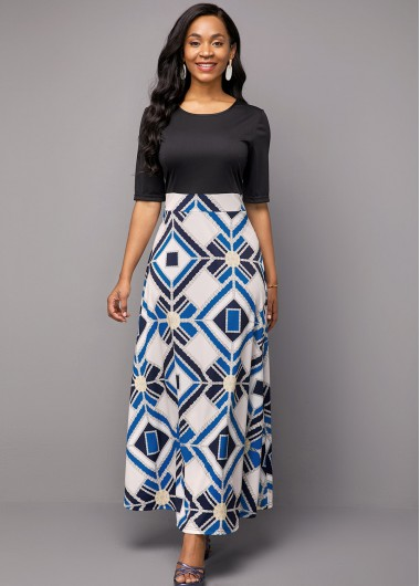 Half Sleeve Geometric Print Round Neck Dress