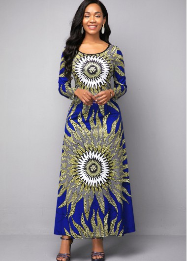 Women'S Blue Tribal Printed High Waisted Round Neck Maxi Cocktail Party Dress Three Quarter Sleeve Elegant Dress By Rosewe - 12