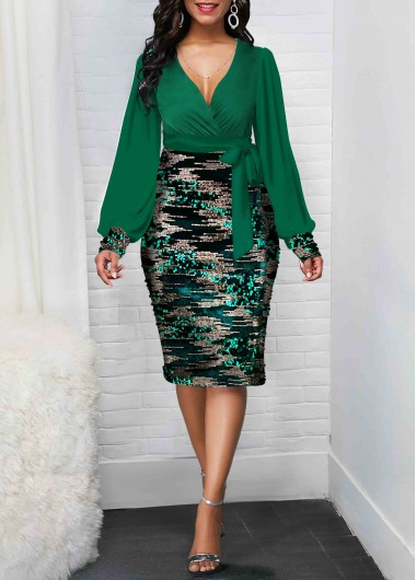Women'S Green Sequin Plunging Neck Tie Side Sheath Dress Long Sleeve Midi Elegant Cocktail Party Dress By Rosewe - 12