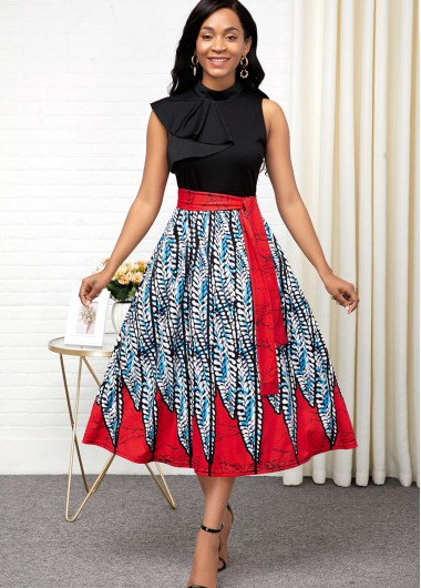 Wedding Guest Dress Zipper Back Belted Sleeveless Printed Dress - 12