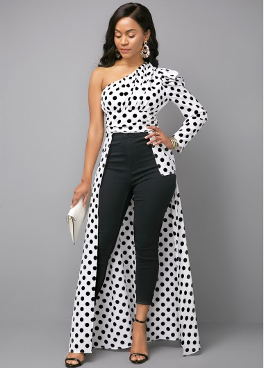 Women'S Black And White One Shoulder Maxi Formal Blouse Color Block Polka Dot Printed Skew Neck Long Sleeve Longline Sexy Club Top By Rosewe - 10