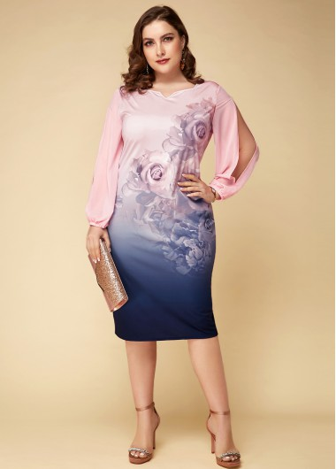 Printed Plus Size Long Sleeve Dress - 16W
