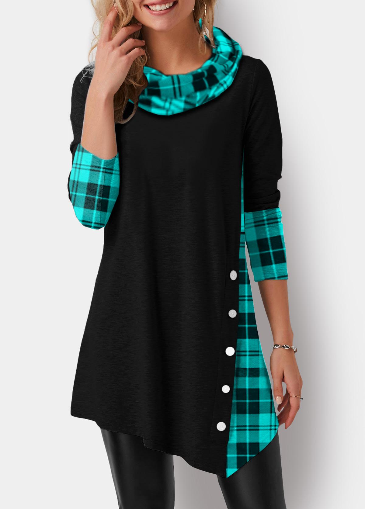 Asymmetric Hem Plaid Print Cowl Neck T Shirt