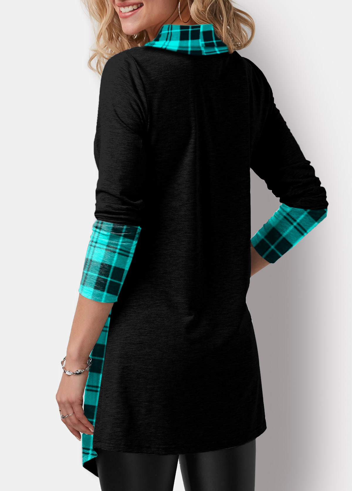Asymmetric Hem Plaid Print Cowl Neck T Shirt
