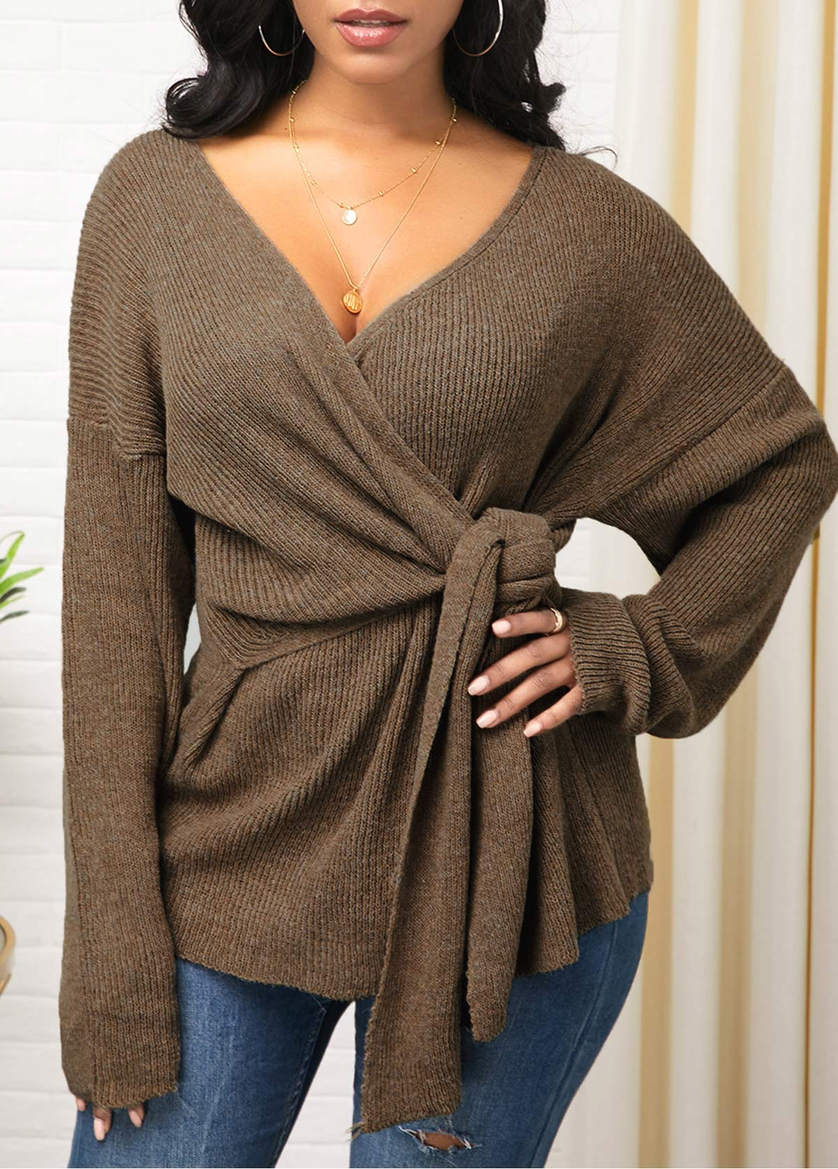 Plunging Neck Knot Detail Long Sleeve Sweater